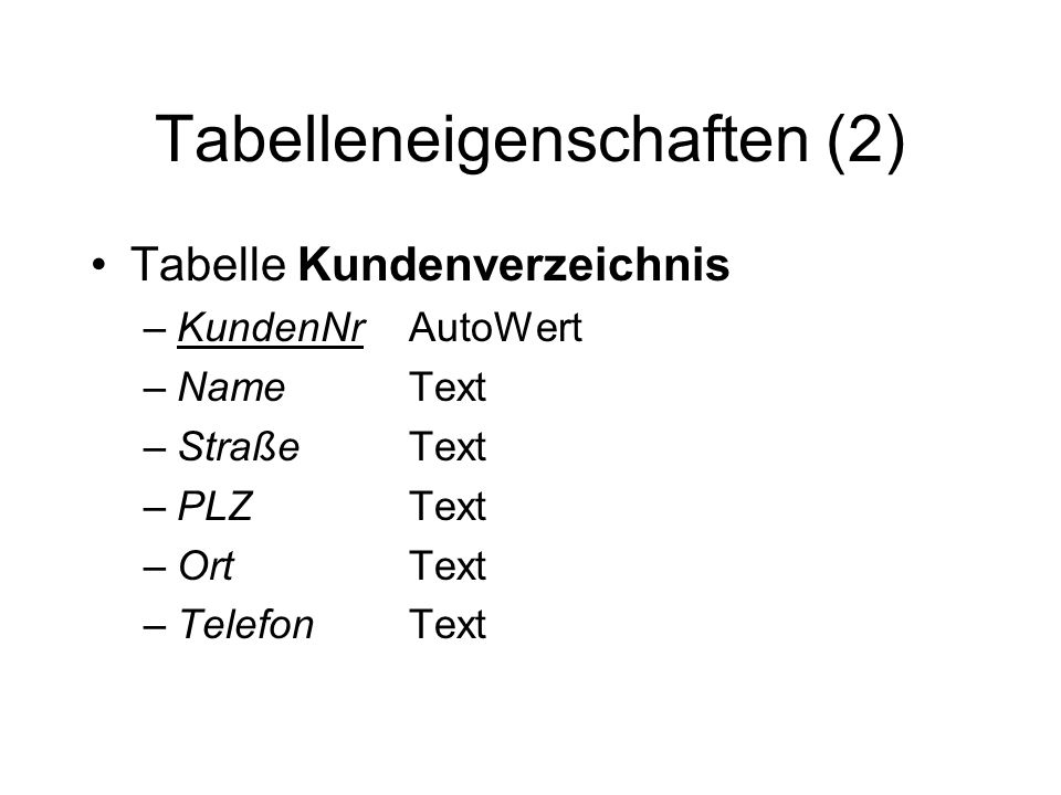 Tabelleneigenschaften (2)