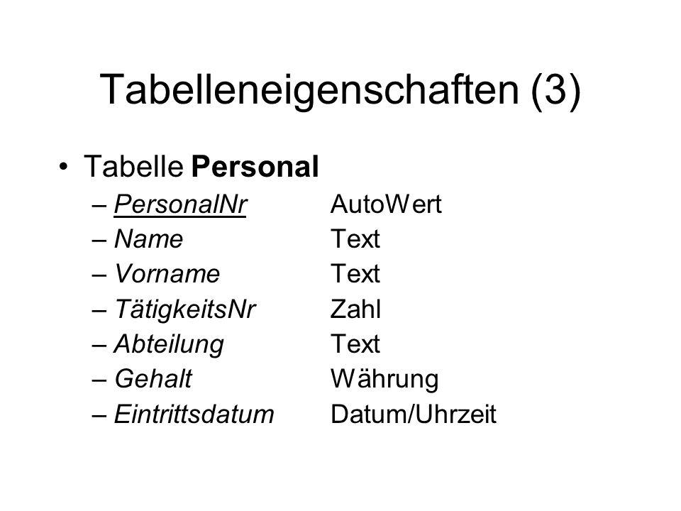 Tabelleneigenschaften (3)