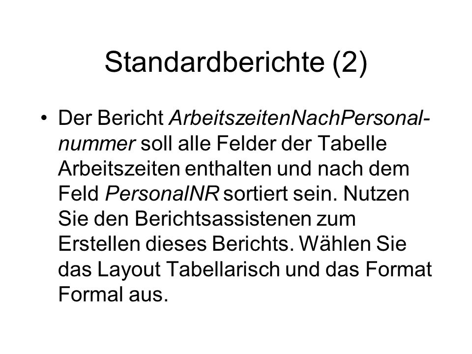 Standardberichte (2)