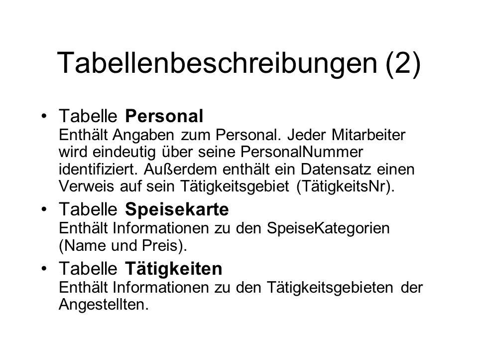 Tabellenbeschreibungen (2)