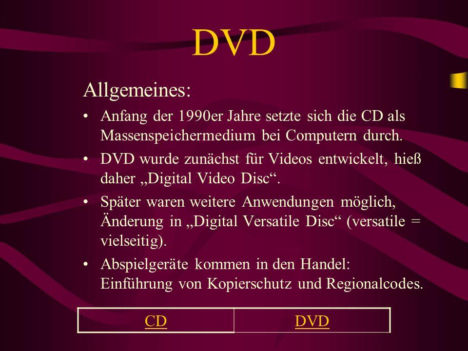 DVD Allgemeines: Anfang der 1990er Jahre setzte sich die CD als Massenspeichermedium bei Computern durch.