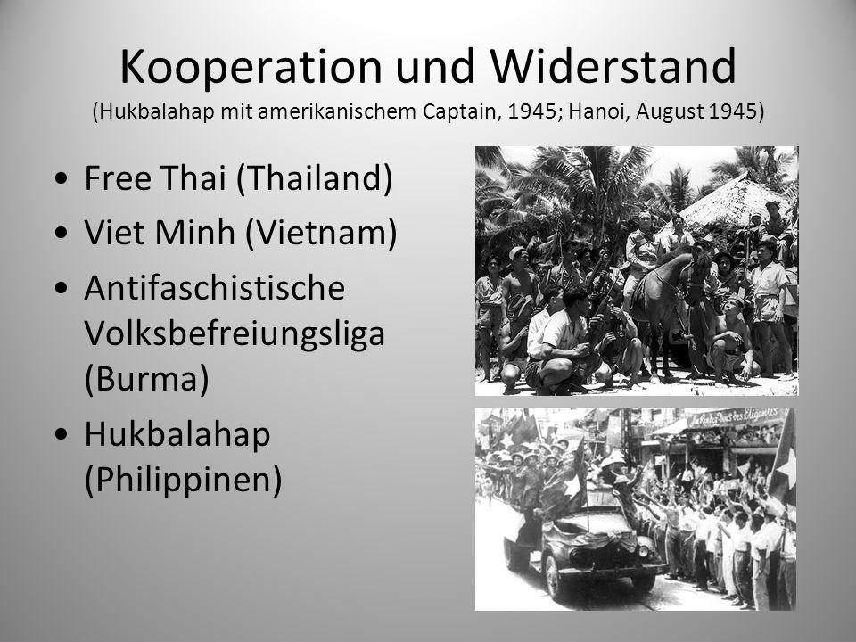 Kooperation und Widerstand (Hukbalahap mit amerikanischem Captain, 1945; Hanoi, August 1945)