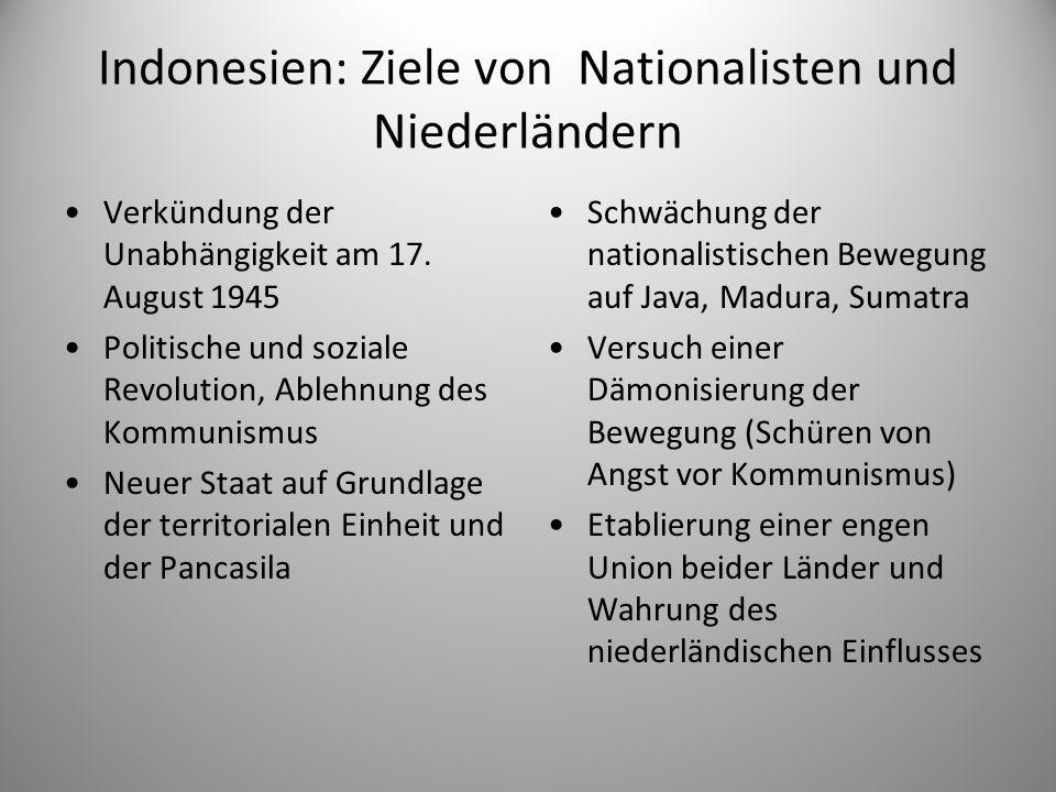 Indonesien: Ziele von Nationalisten und Niederländern