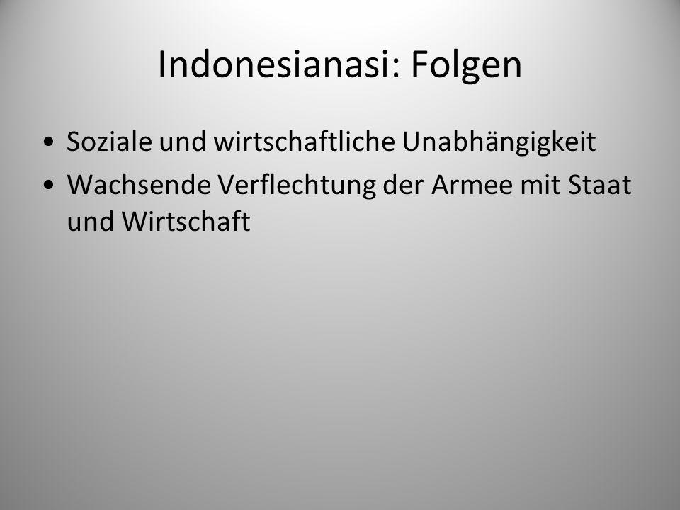 Indonesianasi: Folgen
