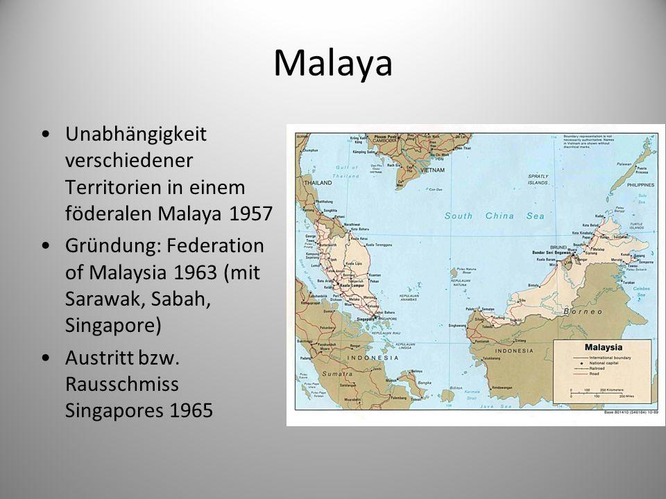 Malaya Unabhängigkeit verschiedener Territorien in einem föderalen Malaya 1957.