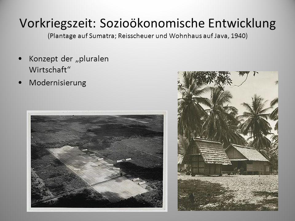 Vorkriegszeit: Sozioökonomische Entwicklung (Plantage auf Sumatra; Reisscheuer und Wohnhaus auf Java, 1940)