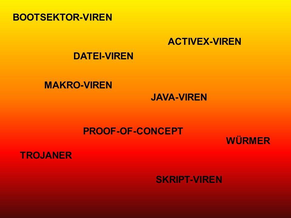 BOOTSEKTOR-VIREN ACTIVEX-VIREN. DATEI-VIREN. MAKRO-VIREN. JAVA-VIREN. PROOF-OF-CONCEPT. WÜRMER.