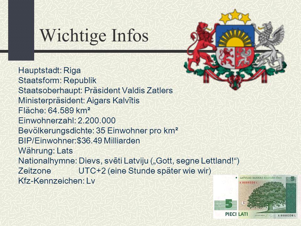 Wichtige Infos Hauptstadt: Riga Staatsform: Republik
