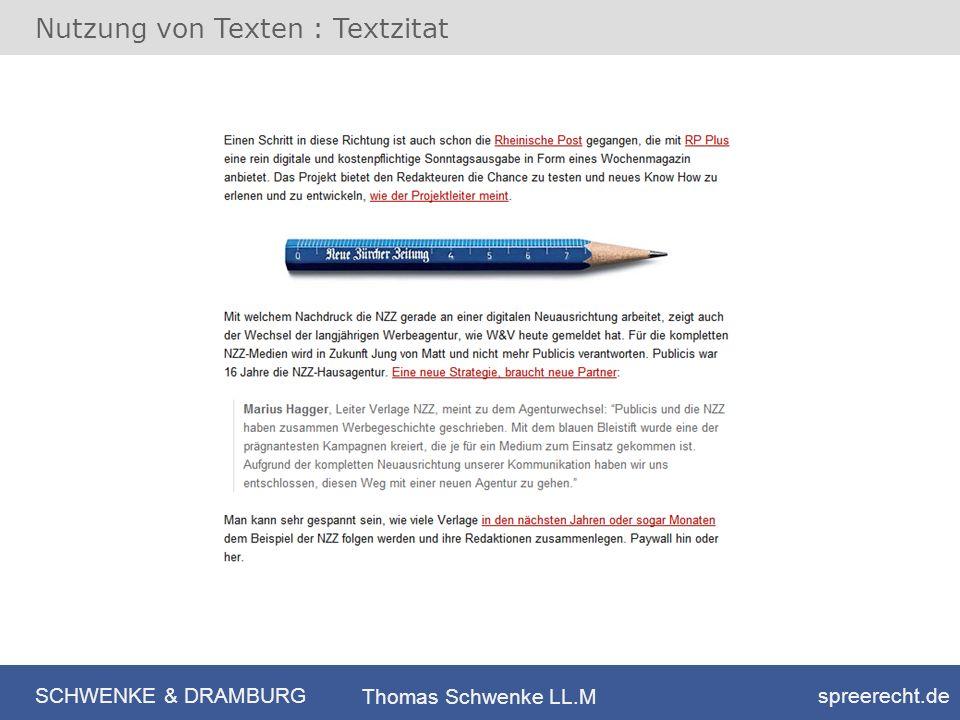 Nutzung von Texten : Textzitat
