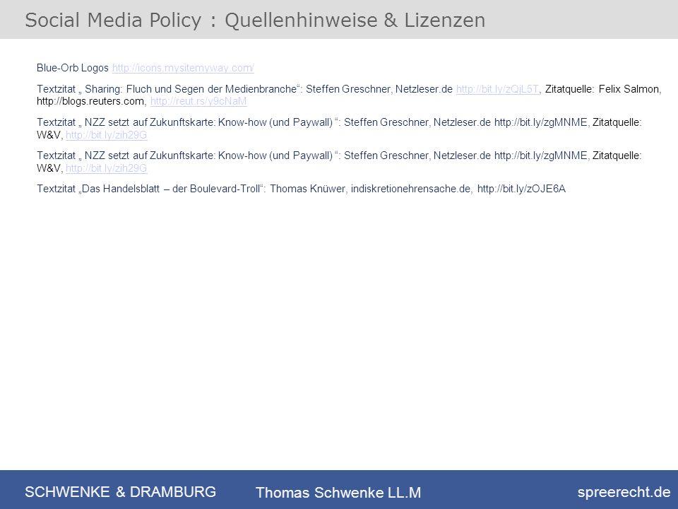 Social Media Policy : Quellenhinweise & Lizenzen