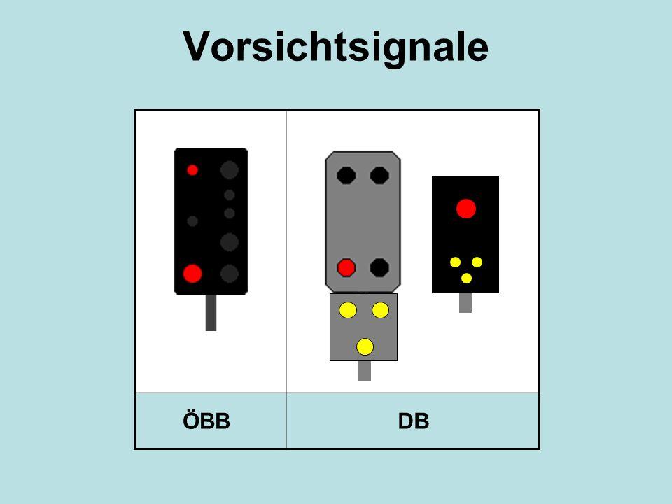 Vorsichtsignale ÖBB DB Drei gelbe Lichter in Form eines V