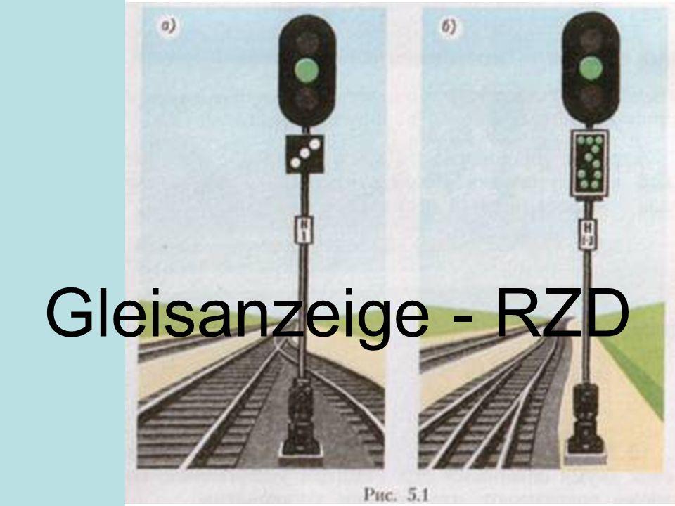 Gleisanzeige - RZD Ha a jelző több vágányról, vagy több vágányra engedélyez közlekedést, szükség esetén vágányútjelzéssel kell kiegészíteni a jelzőt.
