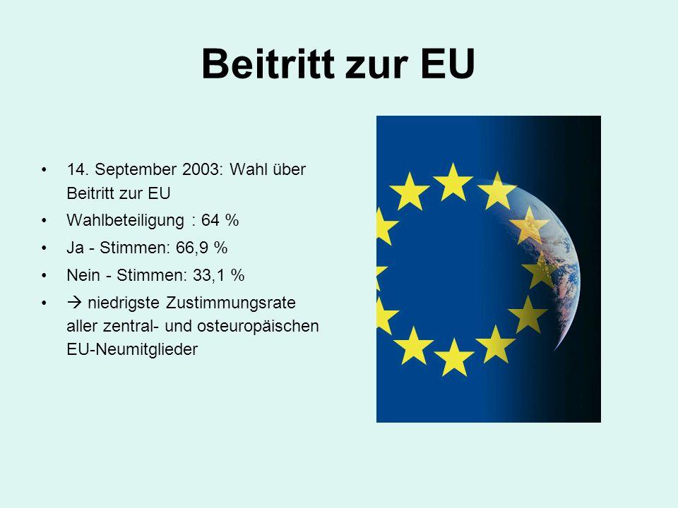 Beitritt zur EU 14. September 2003: Wahl über Beitritt zur EU
