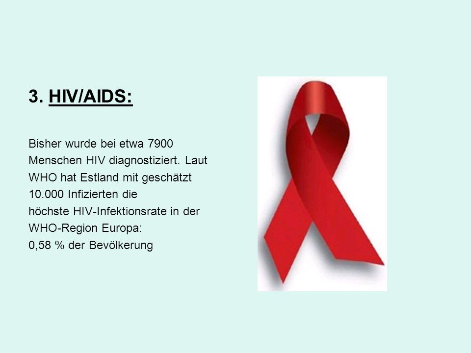 3. HIV/AIDS: Bisher wurde bei etwa 7900