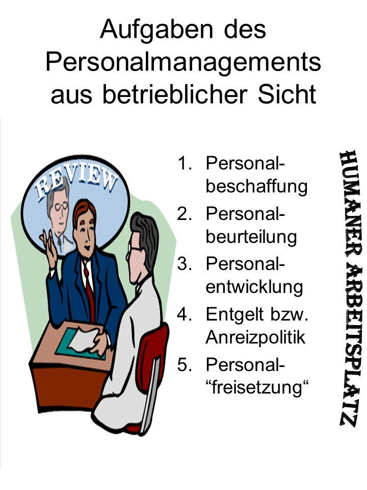 Aufgaben des Personalmanagements aus betrieblicher Sicht