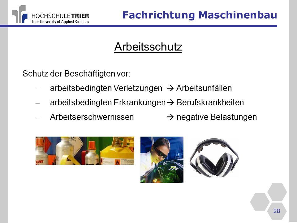 Arbeitsschutz Fachrichtung Maschinenbau Schutz der Beschäftigten vor: