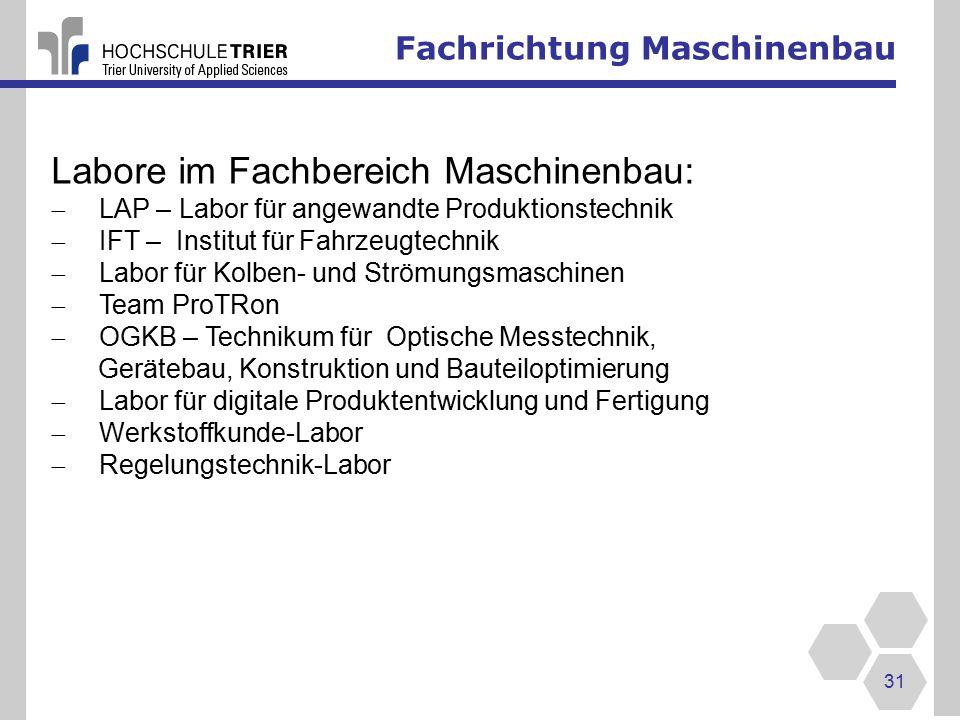 Labore im Fachbereich Maschinenbau: