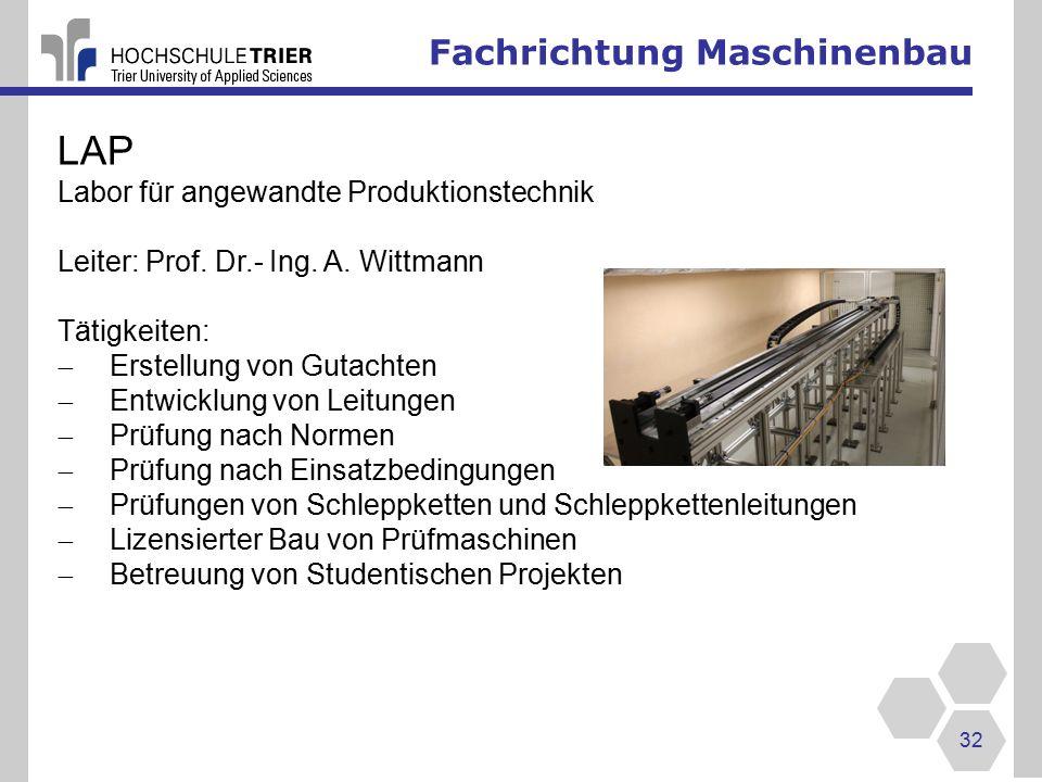 LAP Fachrichtung Maschinenbau Labor für angewandte Produktionstechnik