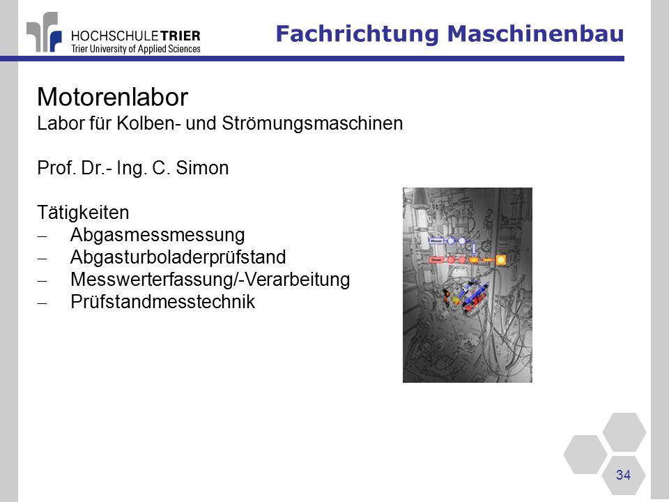Motorenlabor Fachrichtung Maschinenbau