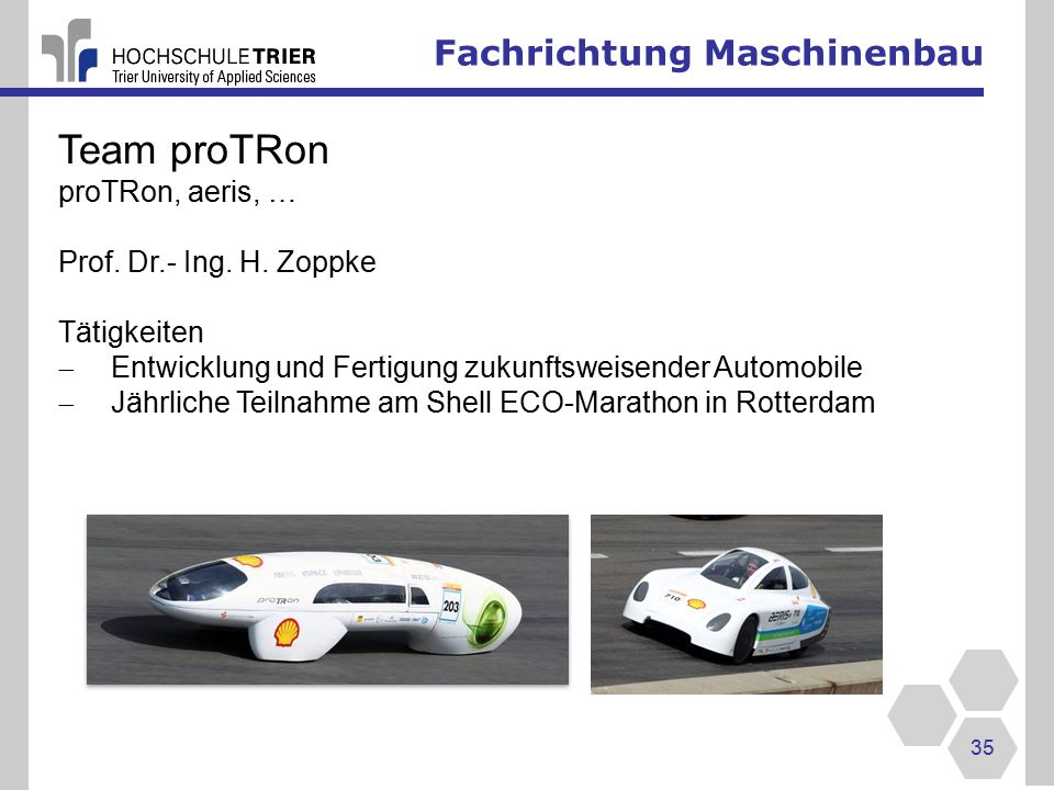 Team proTRon Fachrichtung Maschinenbau proTRon, aeris, …