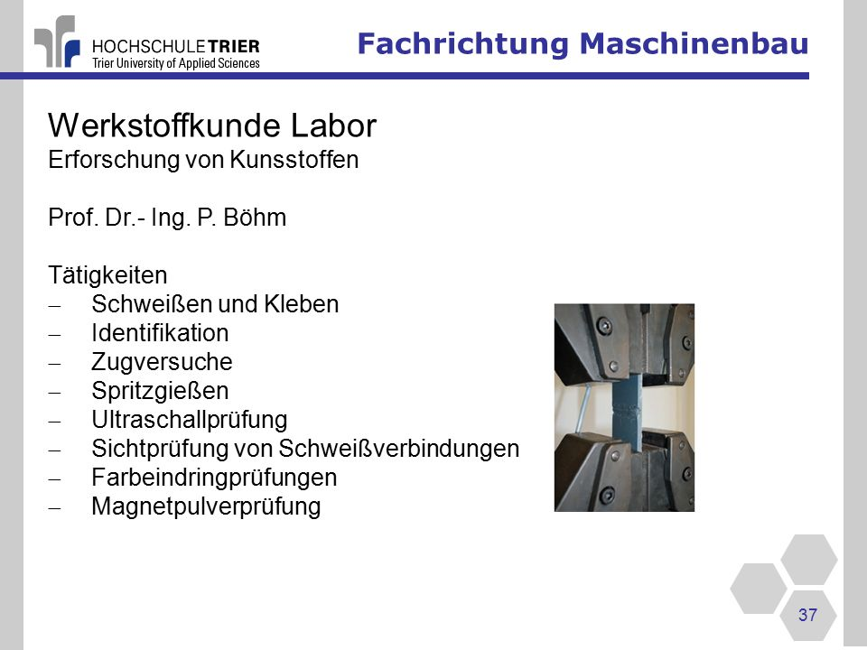 Werkstoffkunde Labor Fachrichtung Maschinenbau