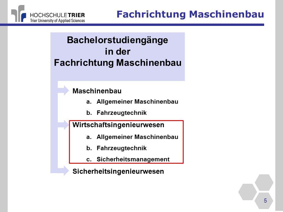 Bachelorstudiengänge Fachrichtung Maschinenbau