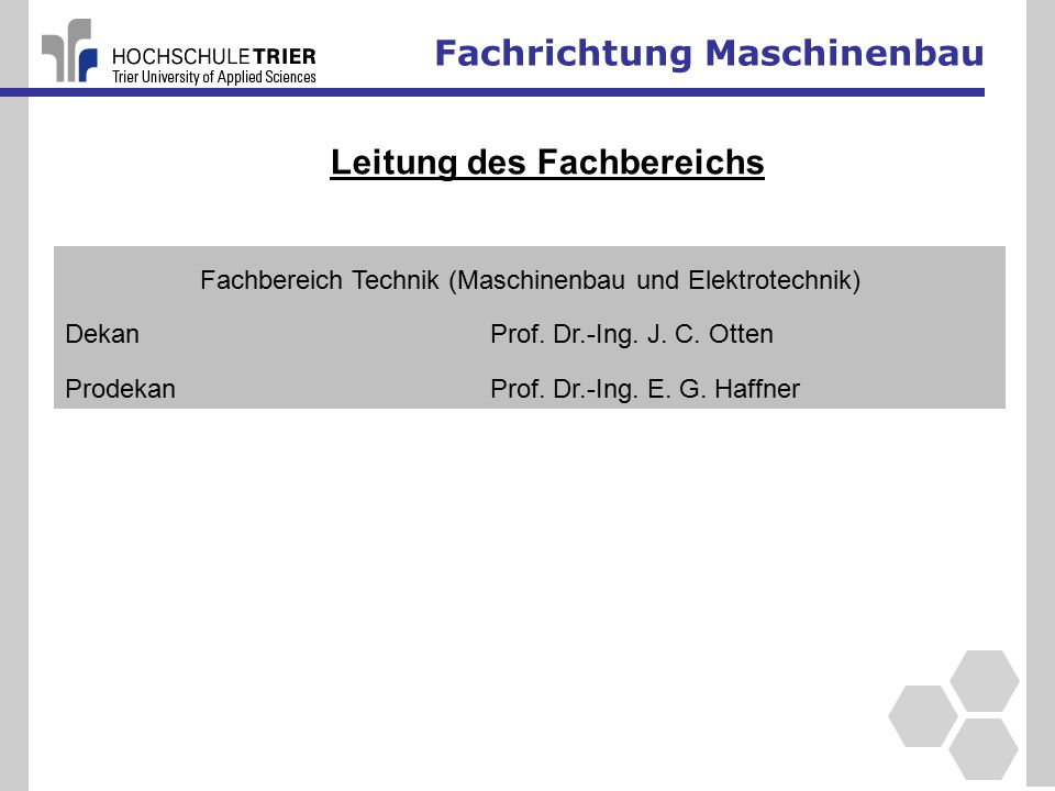 Fachbereich Technik (Maschinenbau und Elektrotechnik)