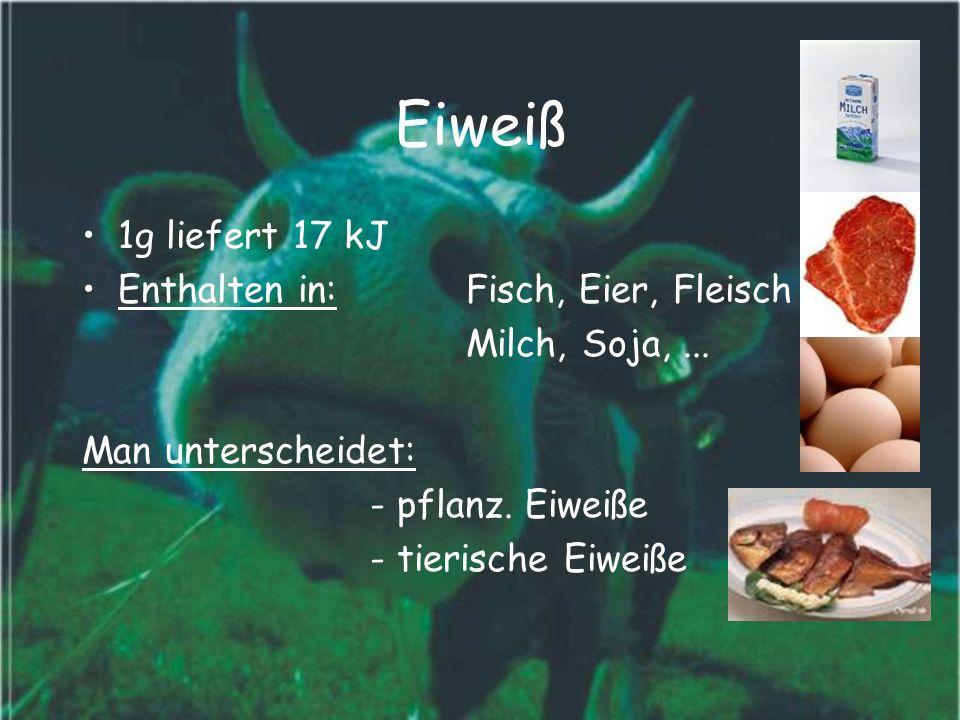 Eiweiß 1g liefert 17 kJ Enthalten in: Fisch, Eier, Fleisch