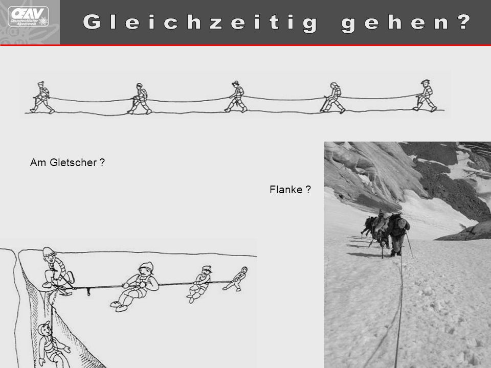 G l e i c h z e i t i g g e h e n Am Gletscher Flanke