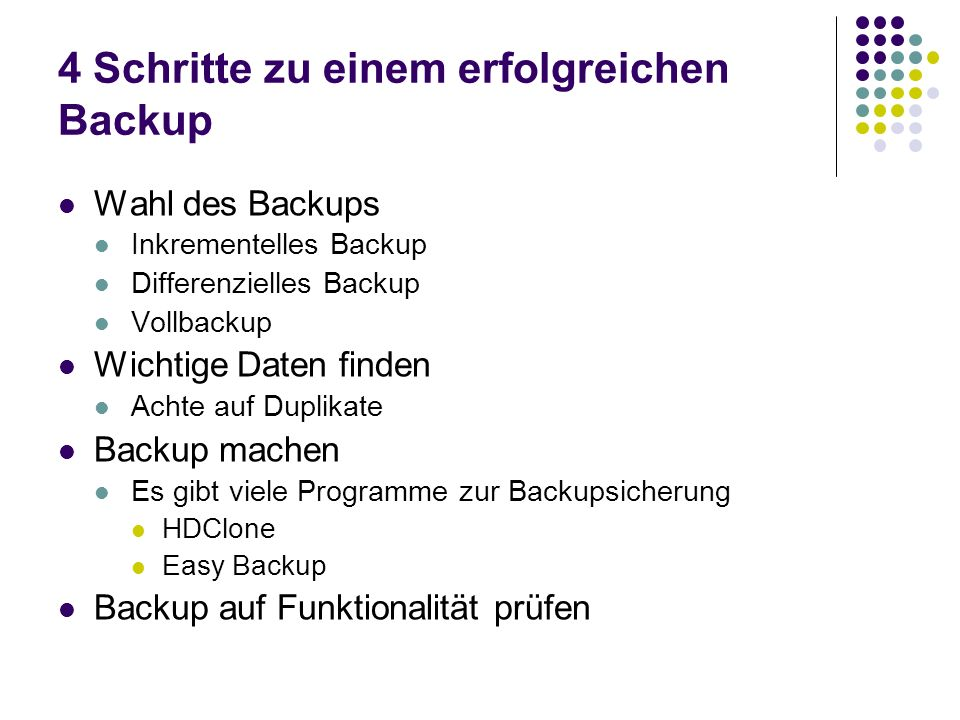 4 Schritte zu einem erfolgreichen Backup