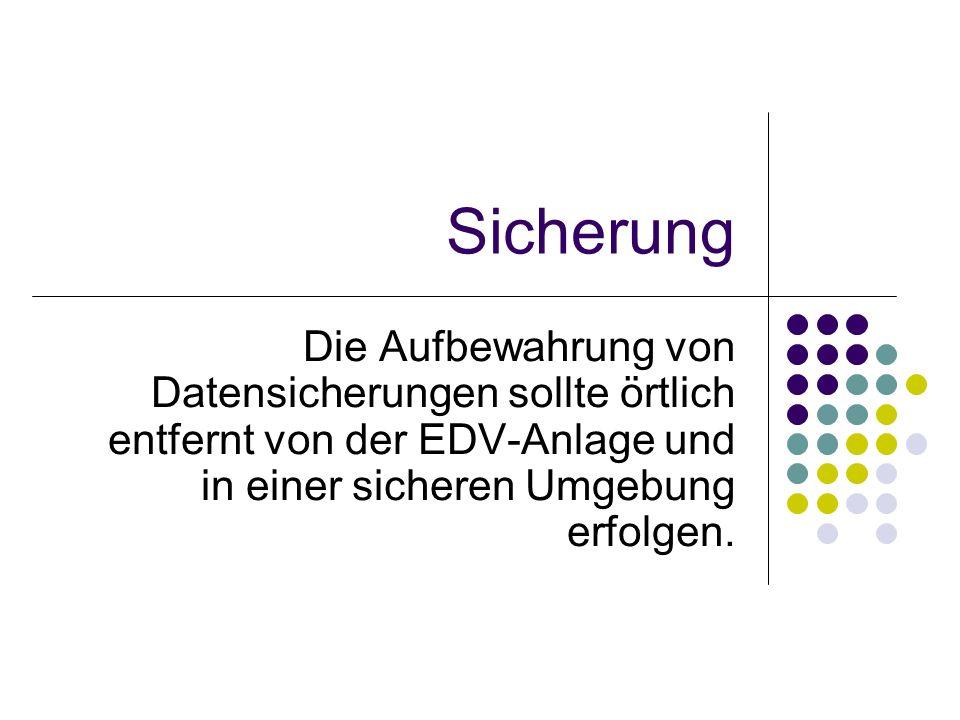 Sicherung Die Aufbewahrung von Datensicherungen sollte örtlich entfernt von der EDV-Anlage und in einer sicheren Umgebung erfolgen.