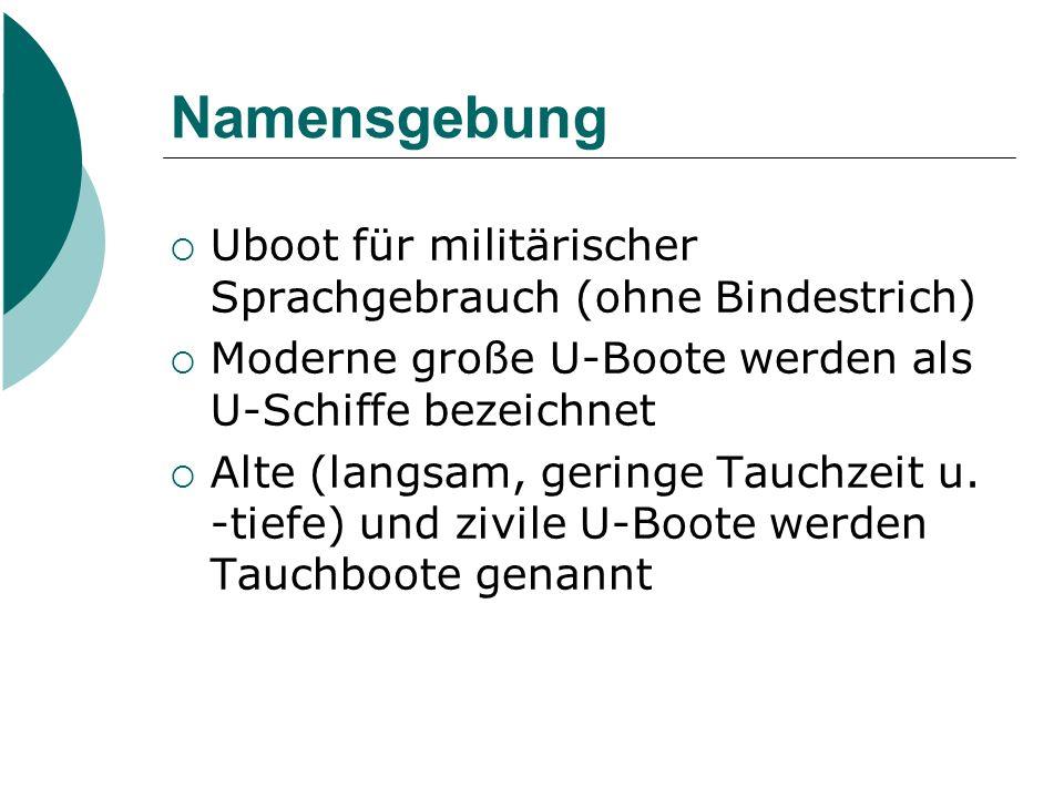 Namensgebung Uboot für militärischer Sprachgebrauch (ohne Bindestrich)