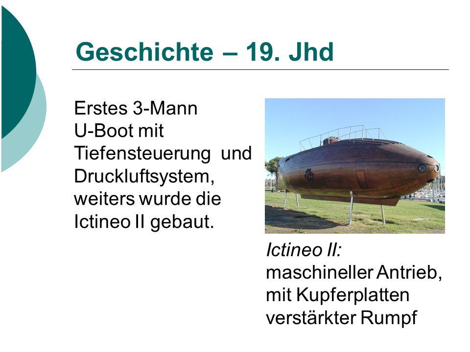 Geschichte – 19. Jhd Erstes 3-Mann U-Boot mit Tiefensteuerung und Druckluftsystem, weiters wurde die Ictineo II gebaut.