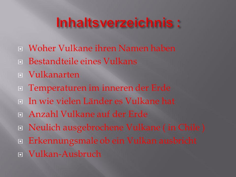 Inhaltsverzeichnis : Woher Vulkane ihren Namen haben