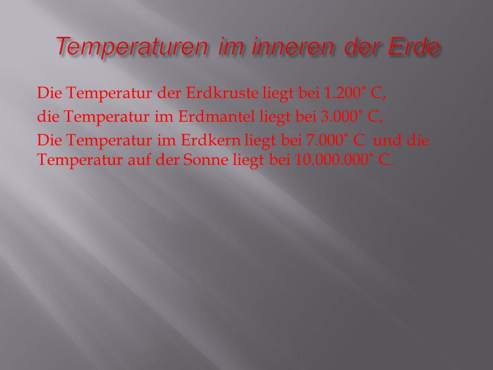 Temperaturen im inneren der Erde