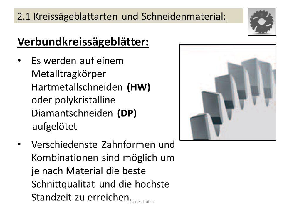 2.1 Kreissägeblattarten und Schneidenmaterial: