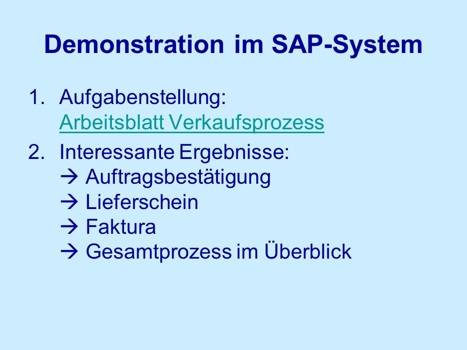 Demonstration im SAP-System