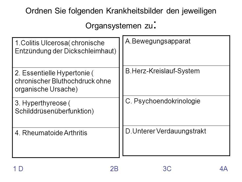 Ordnen Sie folgenden Krankheitsbilder den jeweiligen Organsystemen zu: