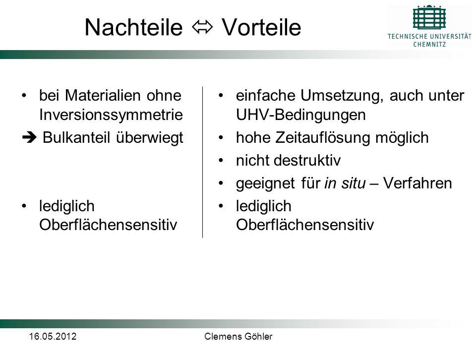 Nachteile  Vorteile bei Materialien ohne Inversionssymmetrie