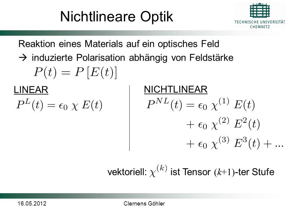 Nichtlineare Optik Reaktion eines Materials auf ein optisches Feld