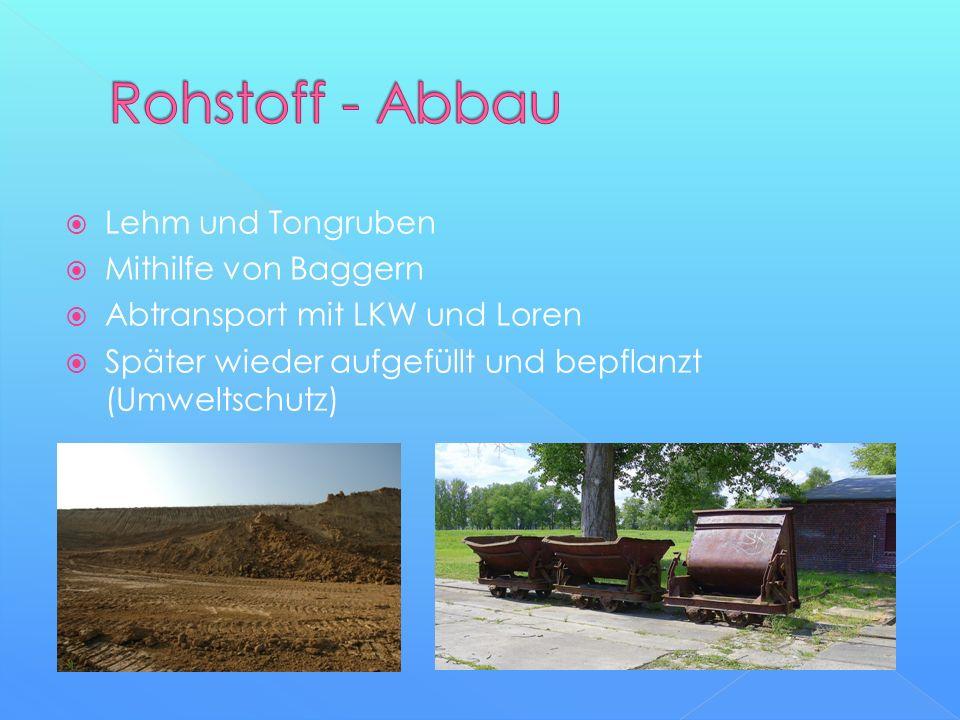 Rohstoff - Abbau Lehm und Tongruben Mithilfe von Baggern