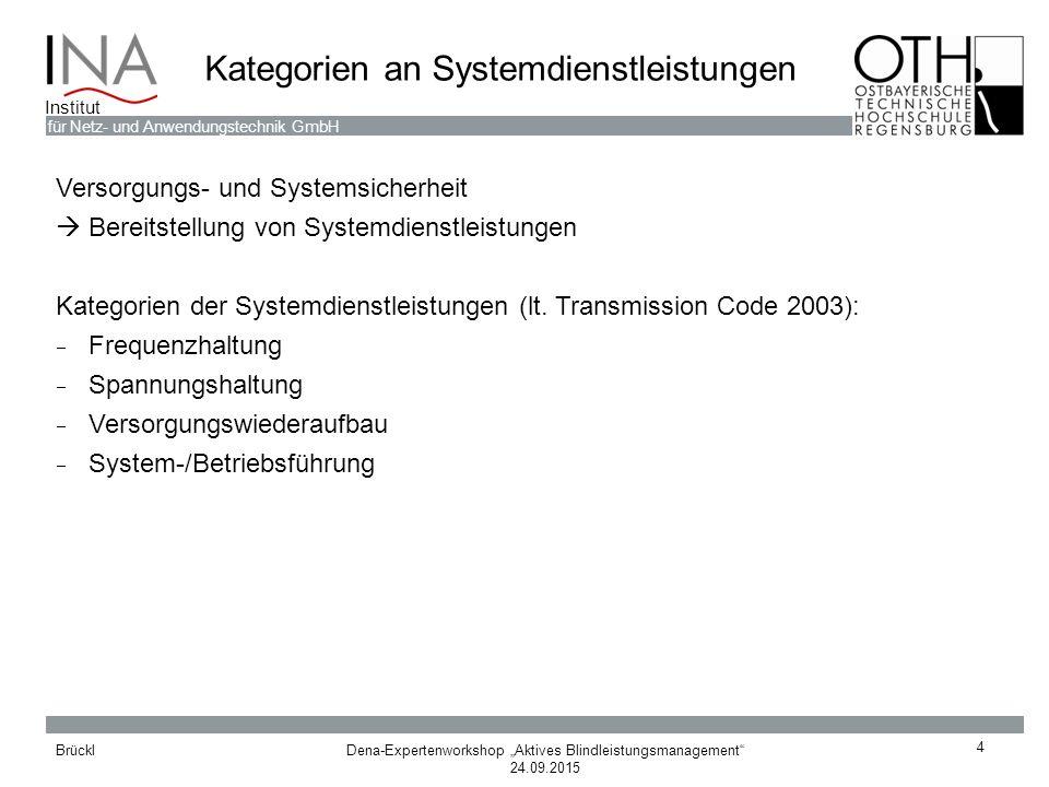 Kategorien an Systemdienstleistungen