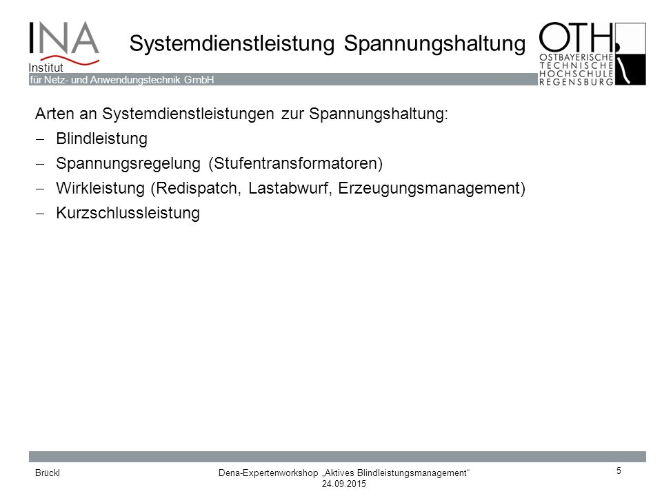 Systemdienstleistung Spannungshaltung