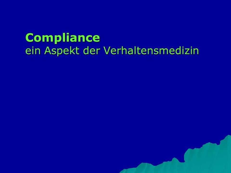 Compliance ein Aspekt der Verhaltensmedizin