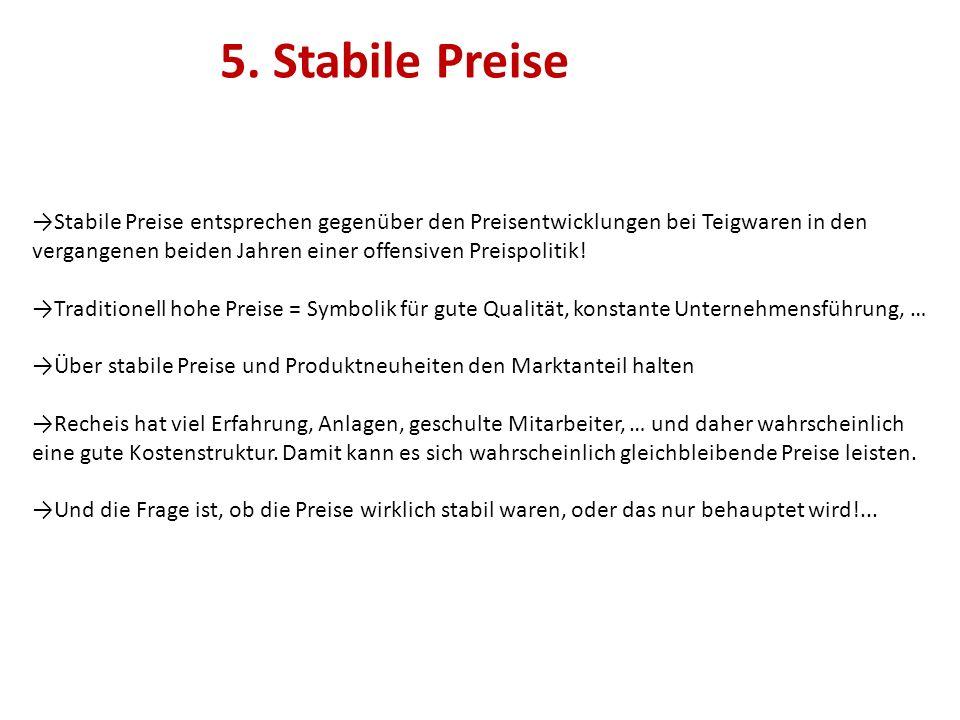 5. Stabile Preise