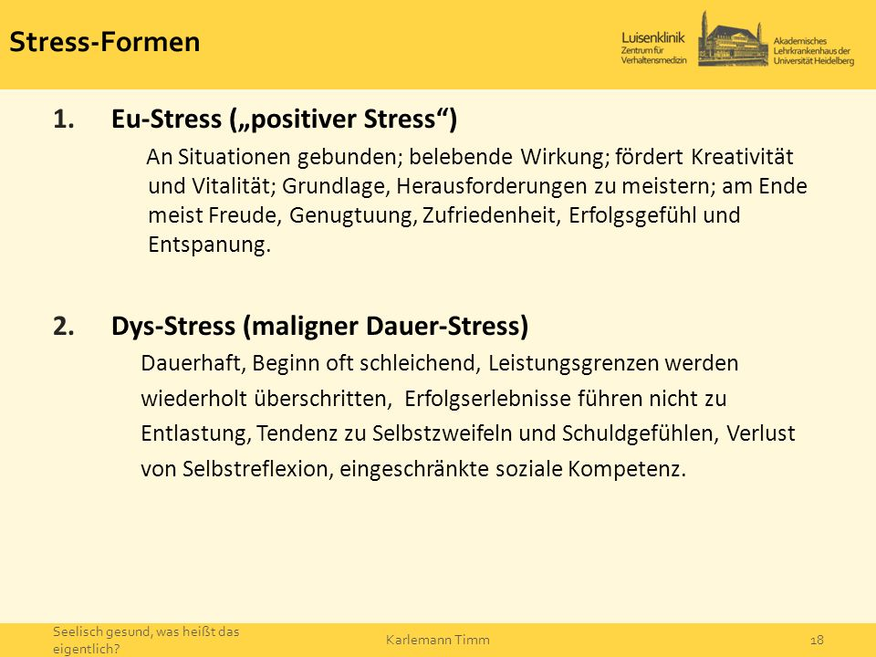 "Stress-Formen Eu-Stress (""positiver Stress )"