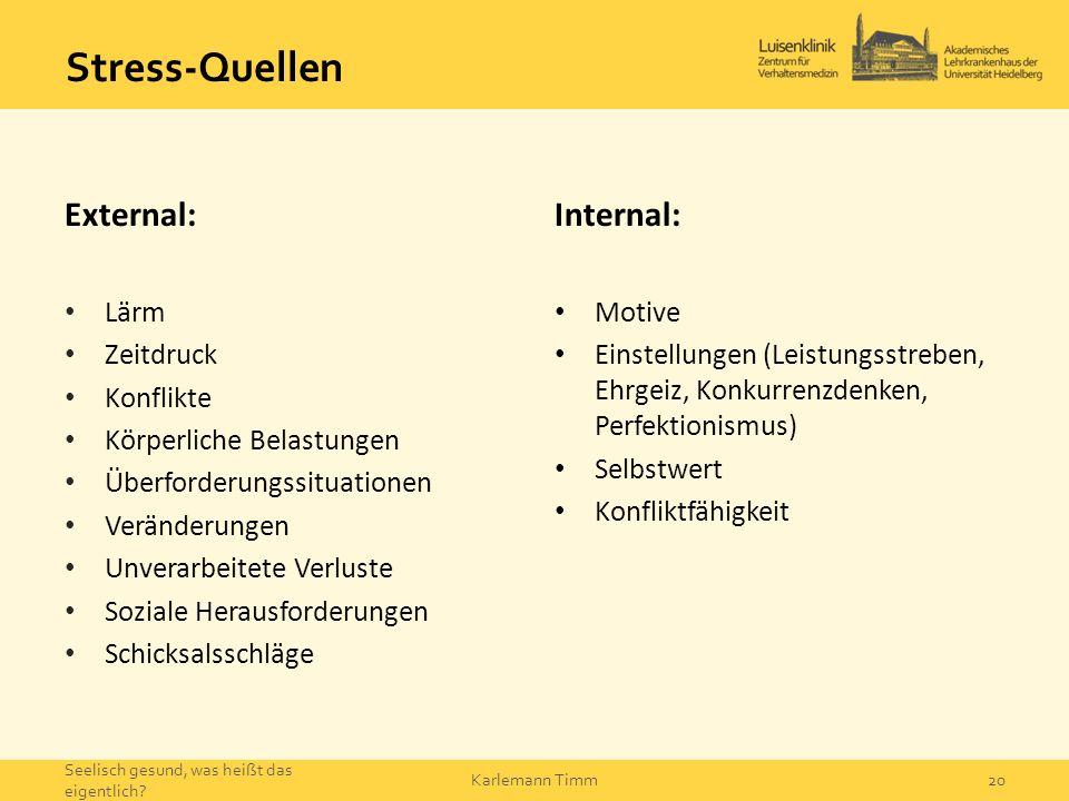 Stress-Quellen External: Internal: Lärm Zeitdruck Konflikte