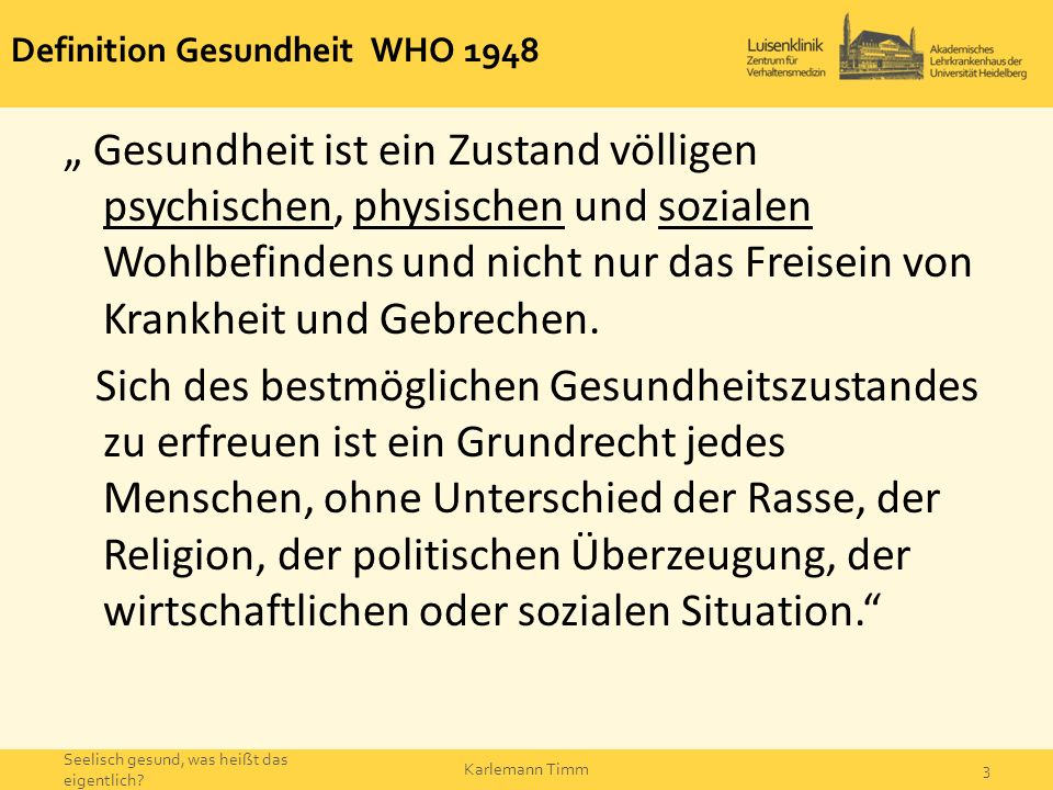 Definition Gesundheit WHO 1948
