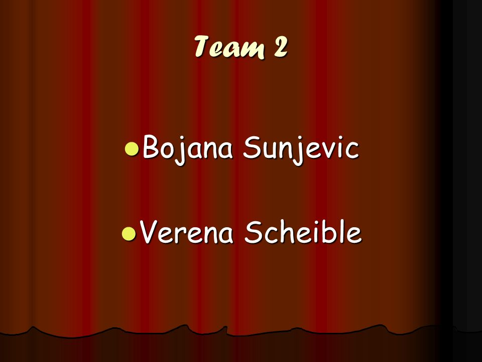 Team 2 Bojana Sunjevic Verena Scheible