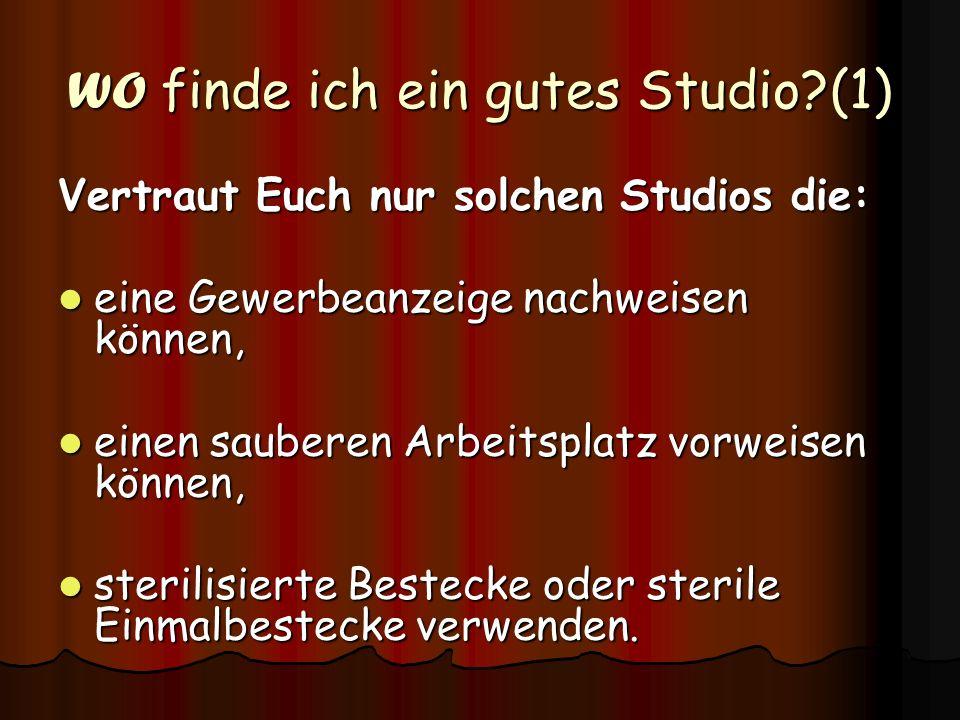 WO finde ich ein gutes Studio (1)